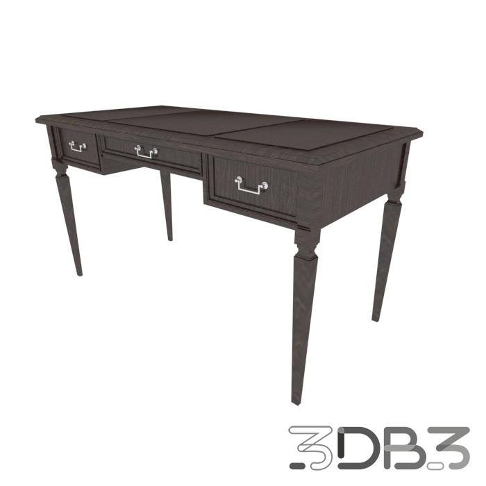 3D Office Desk Model Brown