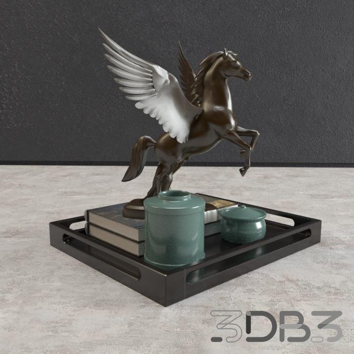 3D Decorative Horse Set Model