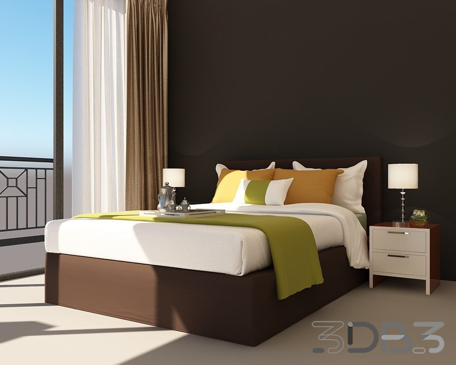 3D Bedroom Interior Scene