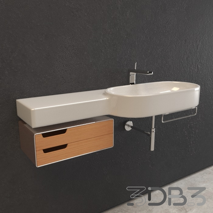 3D Wash Basin Bathroom Model
