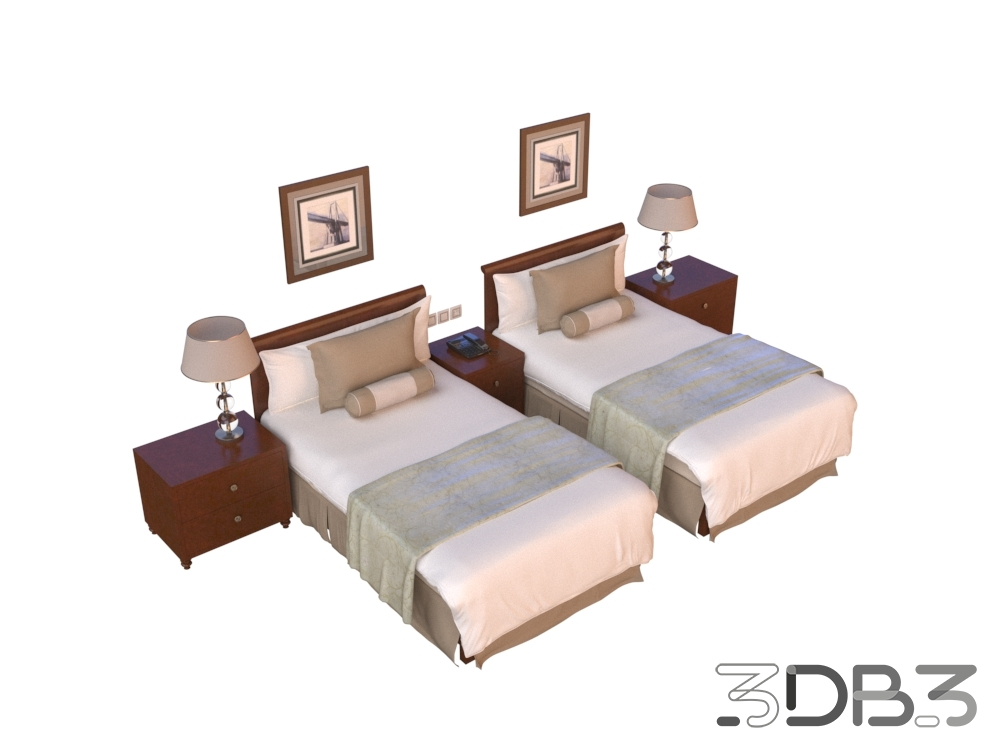 3D Hotel Twin Bed Model
