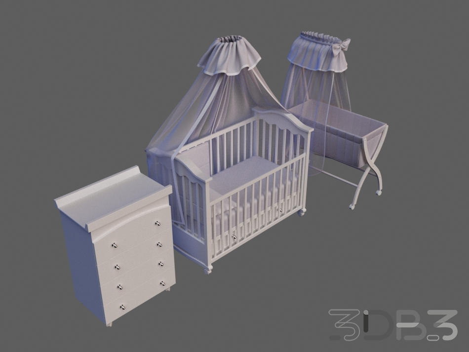 3D Childroom Full Furniture Set