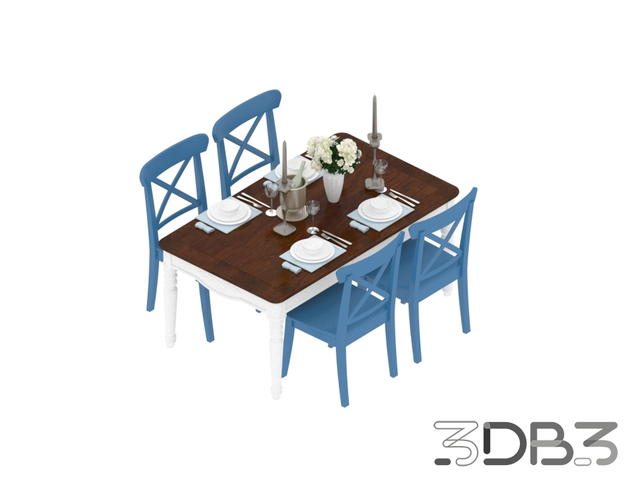 3D Cafe Table and Chair Model