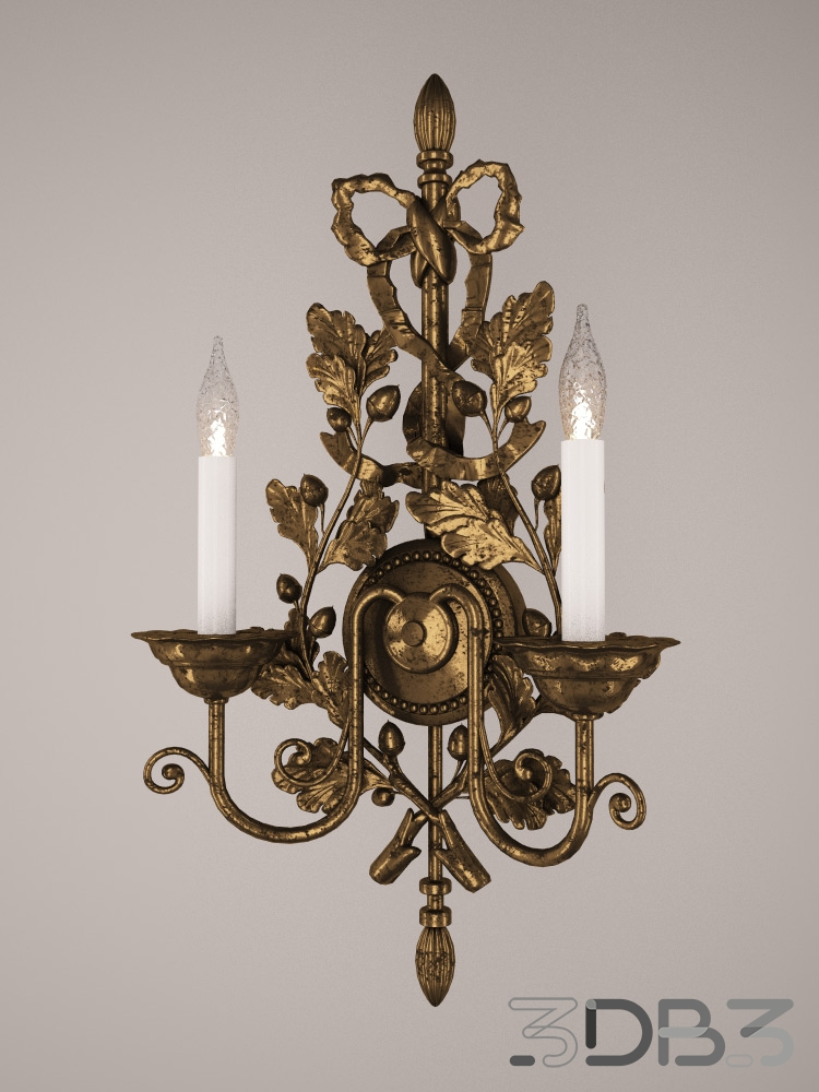 Bronze wall sconce with oak branch motif