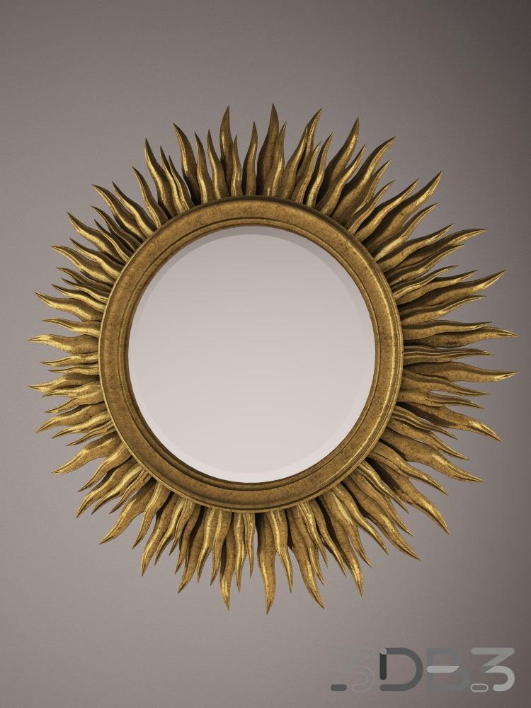 Gilded sun shaped mirror