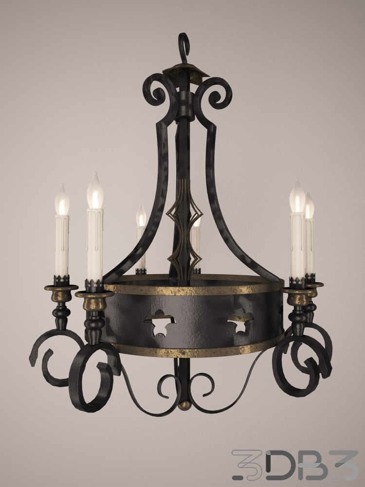 Iron and gold chandelier