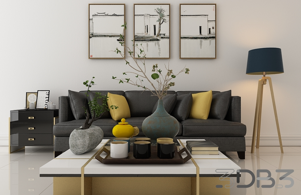 3db3.com & Interior Living room scene - 3db3.com - Free 3D Model Download