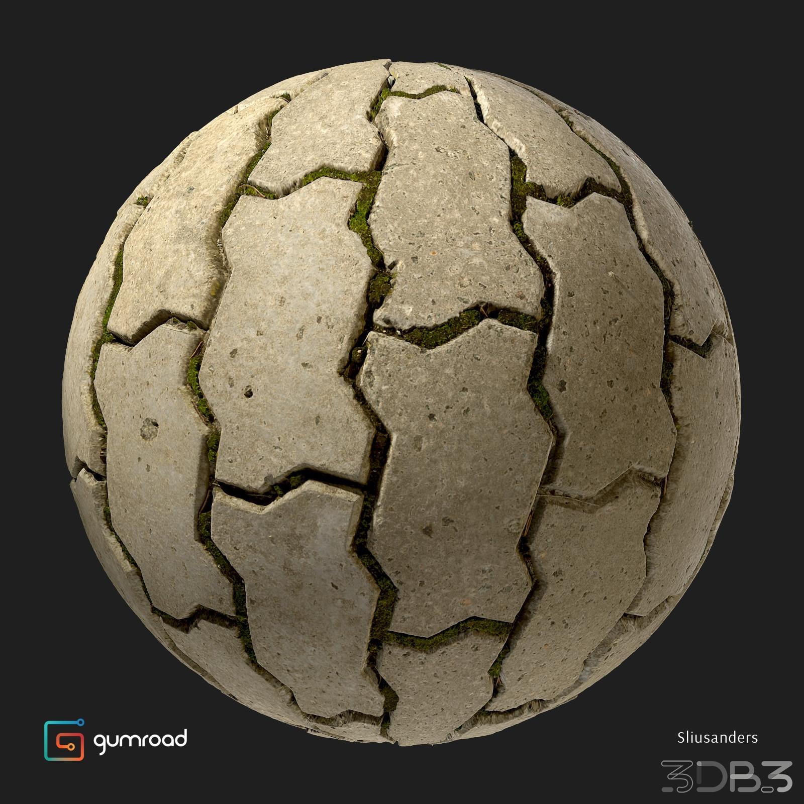Sidewalk herringbone 03 - 3db3 com - Free 3D Model Download