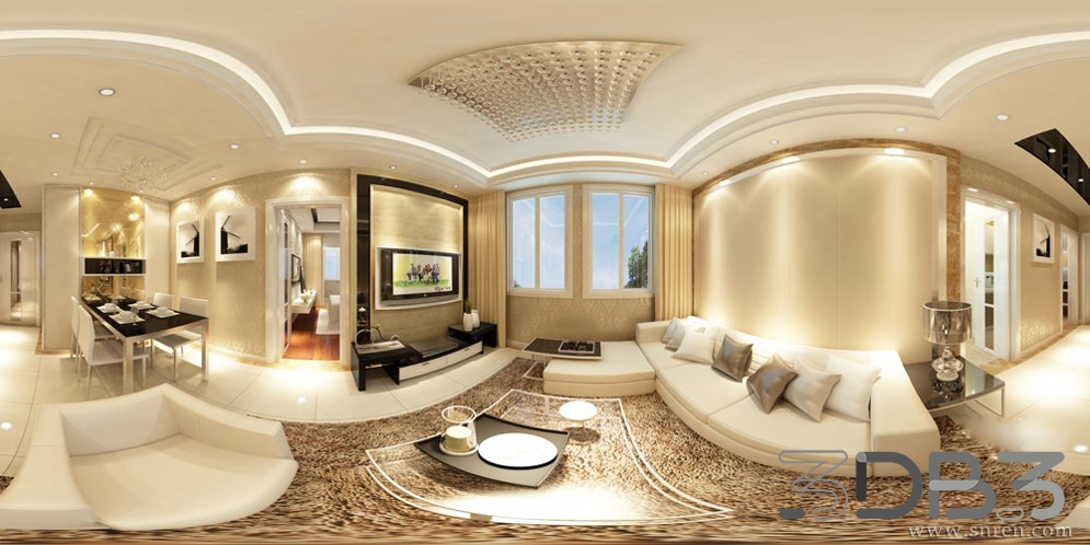 360 Panoramic Interior Scene Living Room