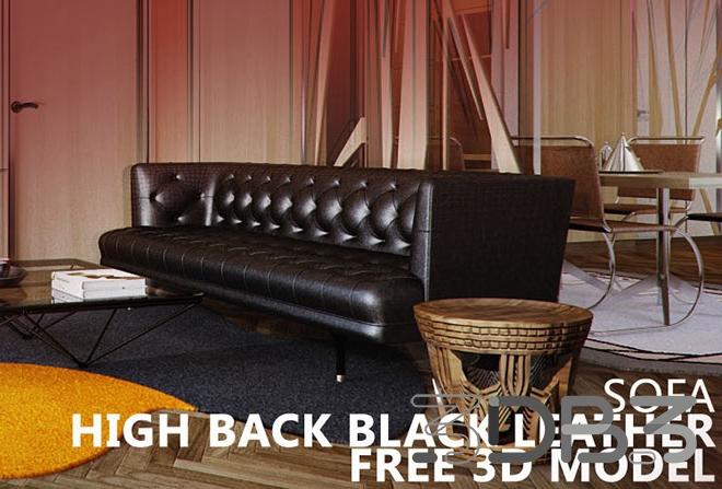 Black Leather Sofa Free 3D Model