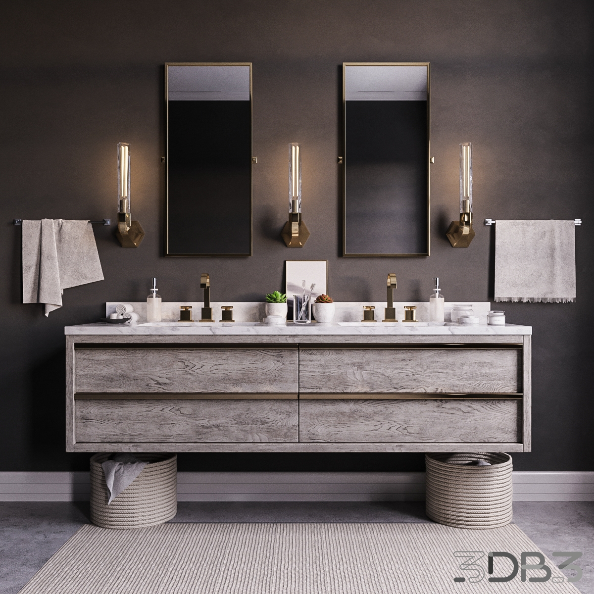 FREE models Bezier double floating vanity