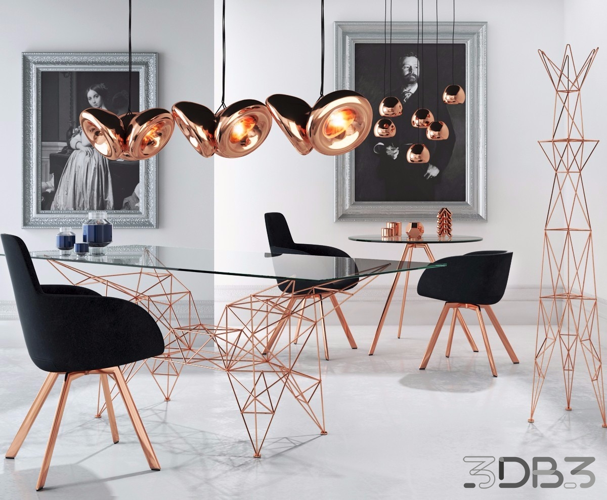 Table with Chairs and Pendant Lights - Tom Dixon