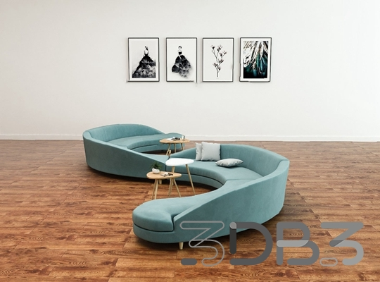 3D Modern Curved Sofa